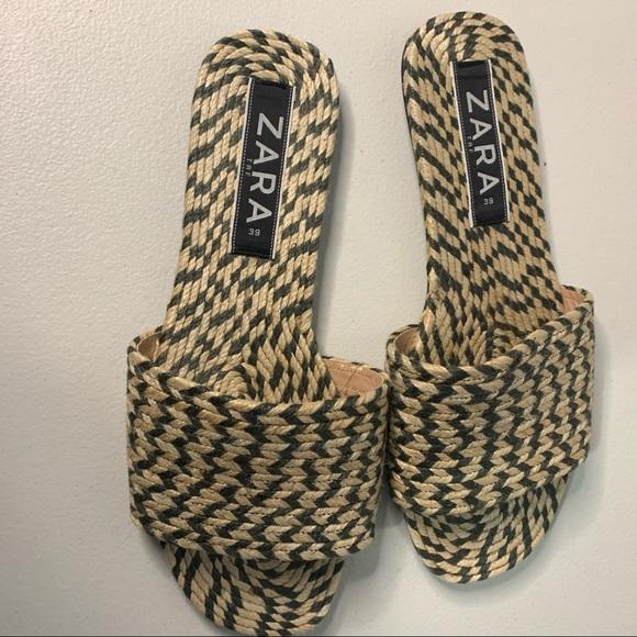 Zara TRF Woven Jute Slide on Flat Sandals